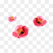 红色唯美水墨梅花装饰图案