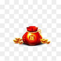 春节新年海报钱袋装饰