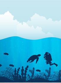 蓝天白云海洋潜水背景图案