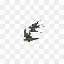 水墨黑色可爱飞舞燕子装饰图案