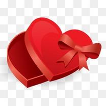 红色心形礼物盒图标