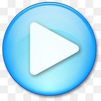 蓝色的播放按钮图标