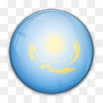 国旗哈萨克斯坦对世界标志图标