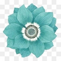 蓝绿色手绘花装饰图案