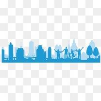 蓝色城市建筑剪影横向素材