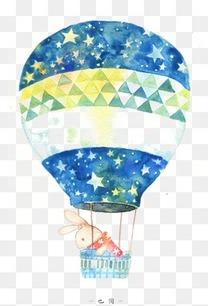 手绘小清新水彩热气球