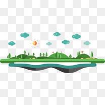 卡通扁平建筑创意小岛山脉树