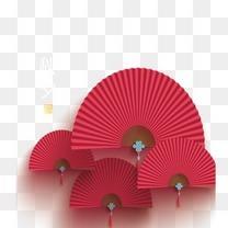 中秋扇子装饰素材