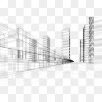 城市建筑透视线条素材