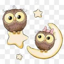 卡通猫头鹰背景装饰星星月亮