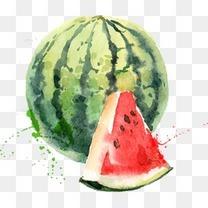 手绘水彩西瓜水果