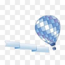 蓝色热气球飘带装饰图案