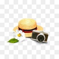 草帽相机旅游元素
