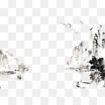 水墨山手绘山中国风
