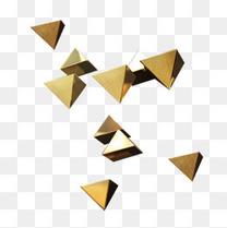 金色边框三角形立体元素