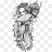 纹身美女扇子