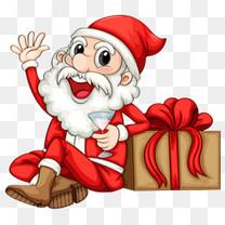 靠着礼物盒的圣诞老人