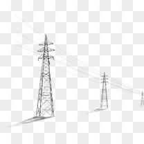 黑白电线塔