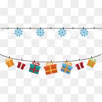 矢量圣诞雪花礼物盒彩旗路边彩旗