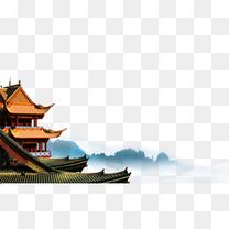 水墨山林寺庙