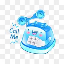 蓝色电话矢量图