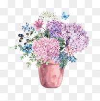 水彩插画花盆和花