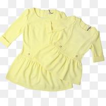 纯色圆领七分袖亲子装