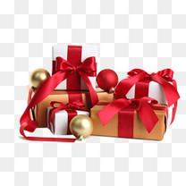 红色成堆圣诞节礼物