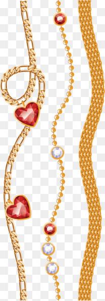 红宝石金色项链