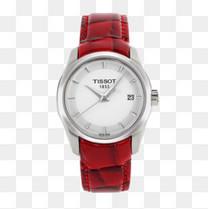 天梭手表皮带石英女表红色