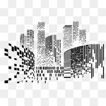 黑色的点线城市剪影