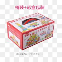 幼儿积木玩具桶装+彩盒包装