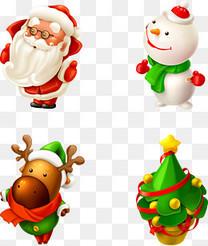圣诞雪人与圣诞树