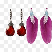 红宝石耳环和紫色羽毛耳环