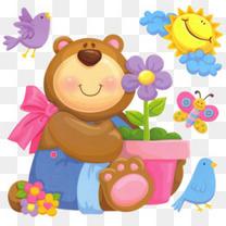 卡通手绘抱花盆的熊