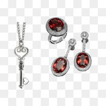 红宝石耳环戒指和钥匙坠子项链
