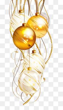 手绘黄色圣诞球