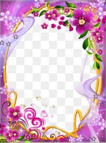 梦幻粉紫色花藤边框