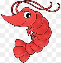 卡通手绘可爱红色大虾