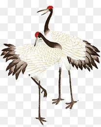 中国风水墨丹顶鹤