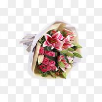 粉色香水百合粉玫瑰花束