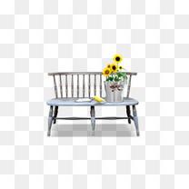 座椅上的小鸟和花盆