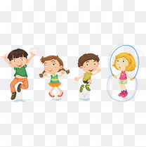 卡通四个小人素材