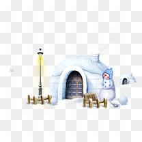 雪地雪人圣诞素材