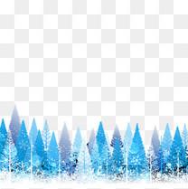蓝色松林圣诞元素
