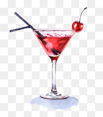 手绘樱桃红鸡尾酒