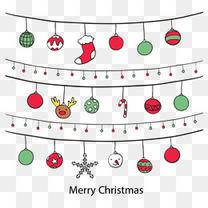 可爱卡通圣诞节挂饰横幅