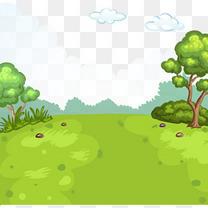 卡通手绘自然风景草地草丛树木