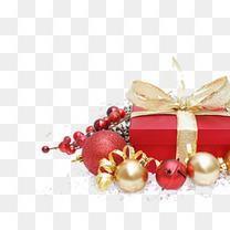 矢量圣诞红色礼物盒铃铛