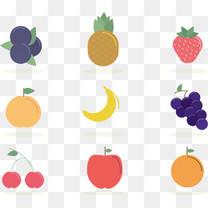 矢量手绘卡通水果